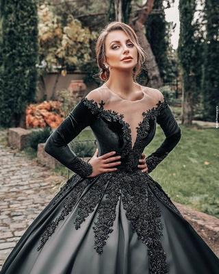Robes de mariée princesse noir   Robes de mariée à manches_4
