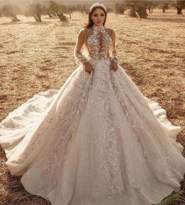 Robes de mariée extravagantes avec dentelle   Robes de mariée manches longues_2