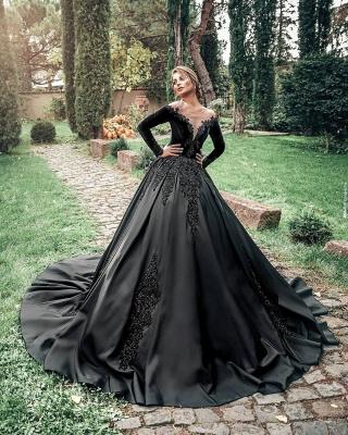 Robes de mariée princesse noir   Robes de mariée à manches_3