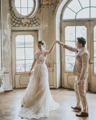 Dentelle de robe de mariée simple | Robes de mariée bohème pas cher_8