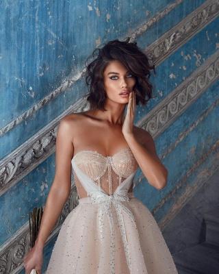 Superbes robes de mariée courtes | Robes de mariée paillettes pas cher_5