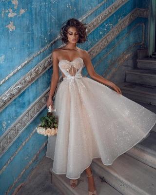Superbes robes de mariée courtes | Robes de mariée paillettes pas cher_2