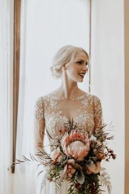Robe de mariée simple à manches | Robes de mariée une ligne de dentelle_3