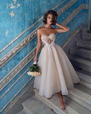 Superbes robes de mariée courtes | Robes de mariée paillettes pas cher_3