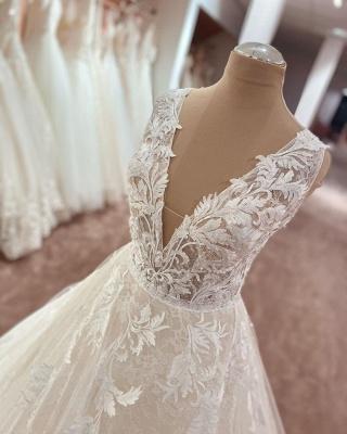 Robes de mariée élégantes décolleté en V   Robes de mariée Une ligne en dentelle_3