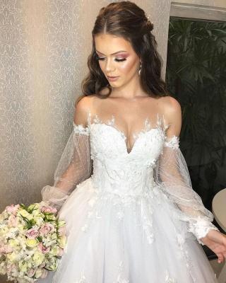 Robe de mariée de créateur Une ligne en dentelle | Robes de mariée à manches_4