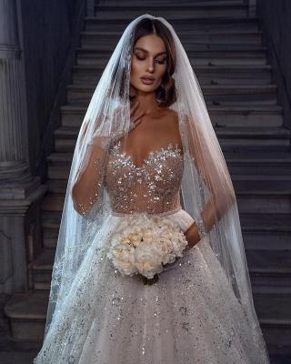 Robes de mariée élégantes paillettes   Robes de mariée Une ligne en dentelle_3