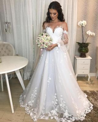 Robe de mariée de créateur Une ligne en dentelle | Robes de mariée à manches_2