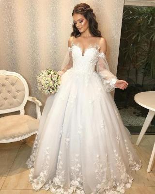 Robe de mariée de créateur Une ligne en dentelle | Robes de mariée à manches_3