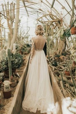 Robe de mariée simple à manches | Robes de mariée une ligne de dentelle_2