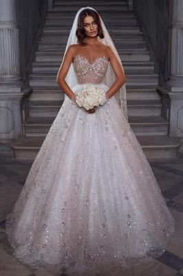 Robes de mariée élégantes paillettes   Robes de mariée Une ligne en dentelle_1