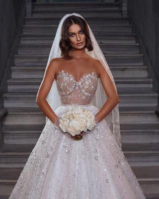 Robes de mariée élégantes paillettes   Robes de mariée Une ligne en dentelle_2