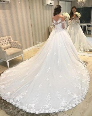 Robe de mariée de créateur Une ligne en dentelle | Robes de mariée à manches_5