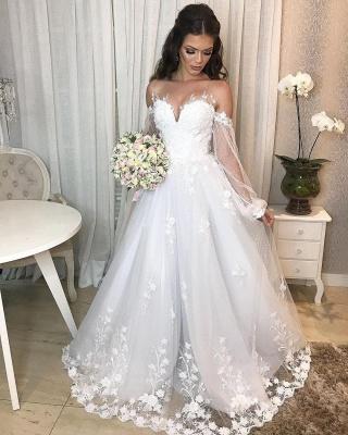 Robe de mariée de créateur Une ligne en dentelle | Robes de mariée à manches_6