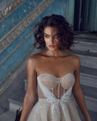 Superbes robes de mariée courtes | Robes de mariée paillettes pas cher_4