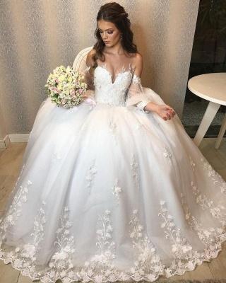 Robe de mariée de créateur Une ligne en dentelle | Robes de mariée à manches_8