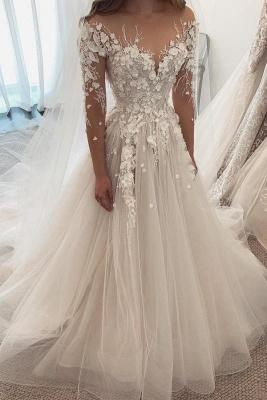 Robes de mariée de créateurs Une ligne de dentelle | Robes de mariée à manches_1