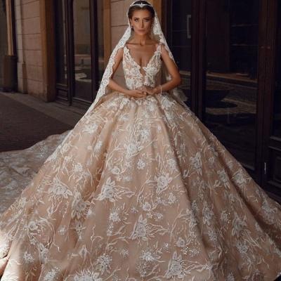 Robes de mariée extravagantes princesse   Robes de mariée en dentelle paillettes_2