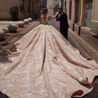 Robes de mariée extravagantes princesse   Robes de mariée en dentelle paillettes_4