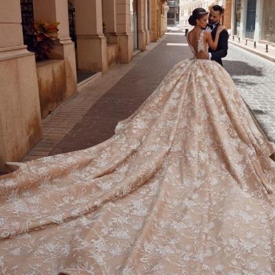 Robes de mariée extravagantes princesse   Robes de mariée en dentelle paillettes_3