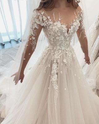 Robes de mariée de créateurs Une ligne de dentelle | Robes de mariée à manches_2