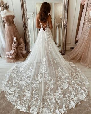 Robes de mariée simples en dentelle   Robes de mariée Une ligne pas cher_2