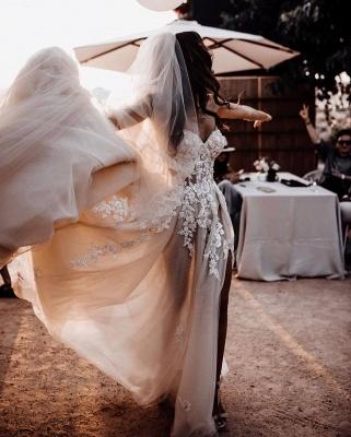 Robes de mariée bohème élégantes   Robes de mariée une ligne de dentelle_5