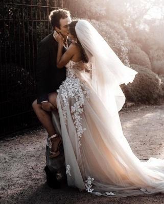 Robes de mariée bohème élégantes   Robes de mariée une ligne de dentelle_3