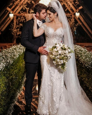 Robes de mariée de luxe avec manches   Robes de mariée Une ligne en dentelle_4