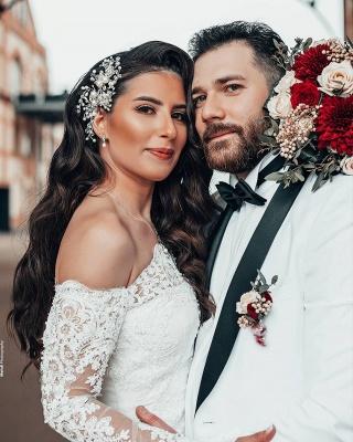 Robe de mariée simple à manches | Robes de mariée en dentelle sirène_2