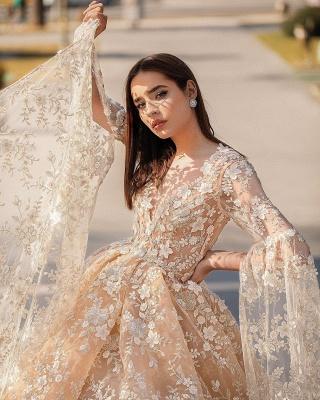 Belles robes de mariée princesse | Robes de mariée en dentelle avec manches_3