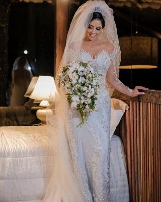 Robes de mariée de luxe avec manches   Robes de mariée Une ligne en dentelle_3