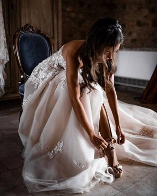 Robes de mariée bohème élégantes   Robes de mariée une ligne de dentelle_6