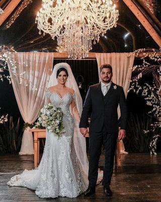 Robes de mariée de luxe avec manches   Robes de mariée Une ligne en dentelle_5