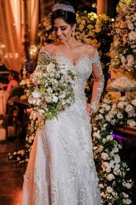 Robes de mariée de luxe avec manches   Robes de mariée Une ligne en dentelle_1