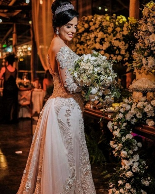 Robes de mariée de luxe avec manches   Robes de mariée Une ligne en dentelle_2