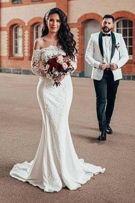 Robe de mariée simple à manches | Robes de mariée en dentelle sirène_1