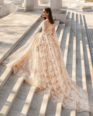 Belles robes de mariée princesse | Robes de mariée en dentelle avec manches_2
