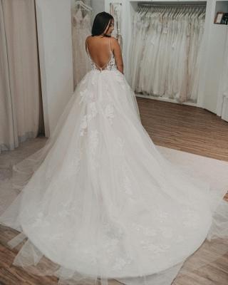 Robes de mariée élégantes en tulle   Robes de mariée Une ligne en dentelle_3