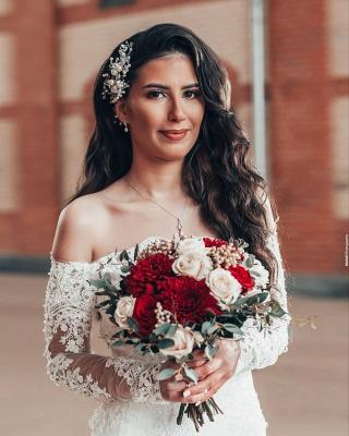 Robe de mariée simple à manches | Robes de mariée en dentelle sirène_6