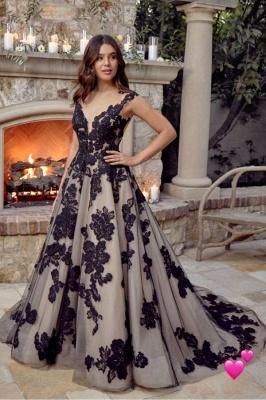 Robes de mariée noires A Line Lace | Acheter des robes de mariée pas chères_1