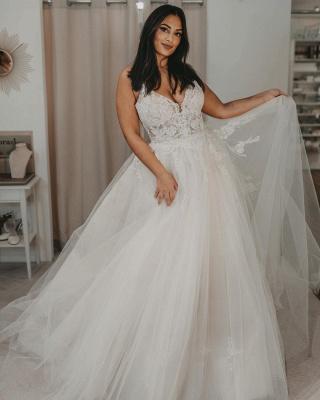 Robes de mariée élégantes en tulle   Robes de mariée Une ligne en dentelle_2