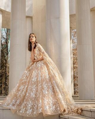 Belles robes de mariée princesse | Robes de mariée en dentelle avec manches_4