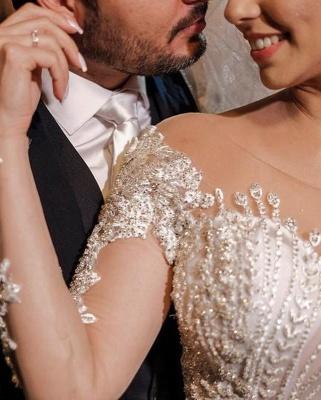 Robes de mariée de luxe avec manches   Robes de mariée Une ligne en dentelle_8