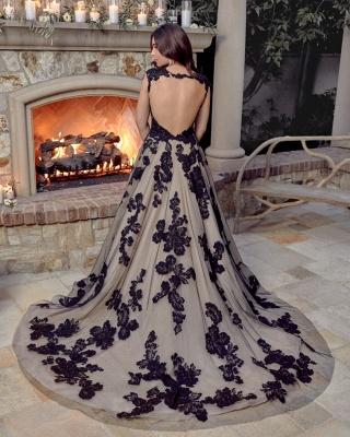 Robes de mariée noires A Line Lace | Acheter des robes de mariée pas chères_2