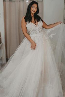 Robes de mariée élégantes en tulle   Robes de mariée Une ligne en dentelle_1