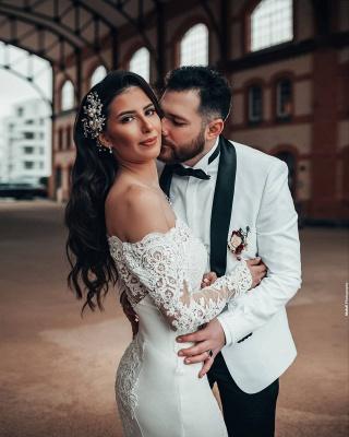 Robe de mariée simple à manches | Robes de mariée en dentelle sirène_5