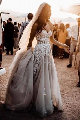 Robes de mariée bohème élégantes   Robes de mariée une ligne de dentelle_1