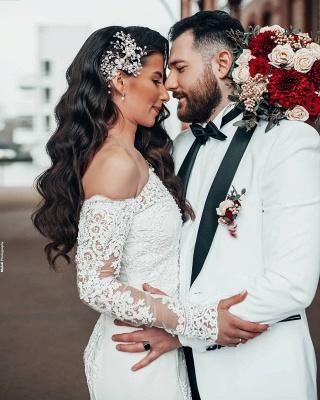 Robe de mariée simple à manches | Robes de mariée en dentelle sirène_3