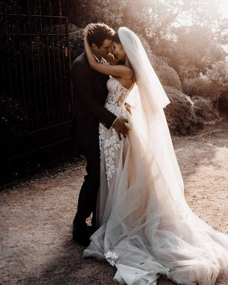 Robes de mariée bohème élégantes   Robes de mariée une ligne de dentelle_4